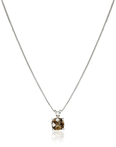 Sterling Silver Cushion-Cut Checkerboard Smoky Quartz Pendant Necklace (6mm) (Jewelry Quartz Silver Smoky Box)