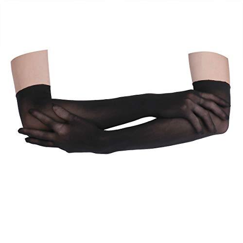 Agoky Women's Seamless Pantyhose Sheer Mesh Evening Gloves Opera Length Glove Mittens Black One Size