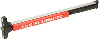 """Detex Weatherized Rim Exit Device for 48"""" Wide Door, Exit Alarm, Clear Anodized Aluminum Finish"""