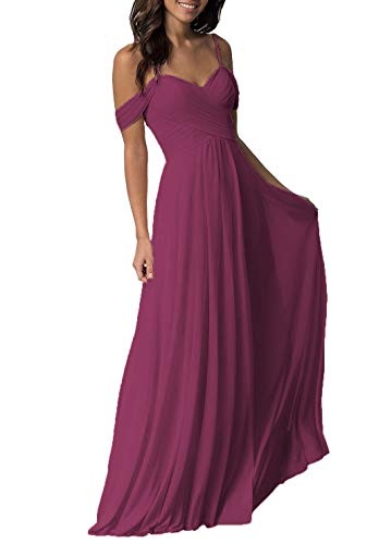 Small Mulberry - Women's Mulberry Wedding Bridesmaid Dresses Long Cold Shoulder Chiffon Formal Party Dress