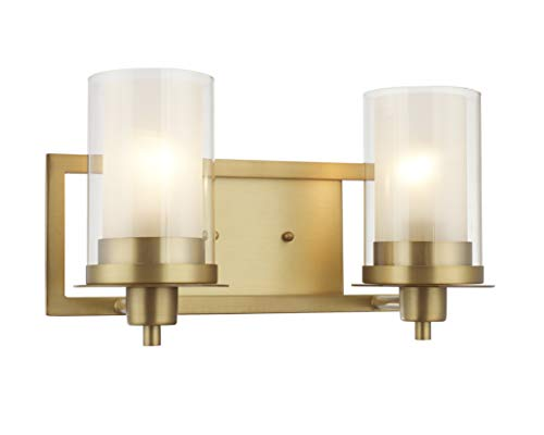 Designers Impressions Juno Brushed Brass 2 Light Wall Sconce/Bathroom Fixture with Clear and Frosted Glass: 73486