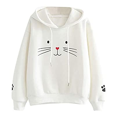 PEIZH Women Top Cat Printing Shirt Fashion Long Sleeve Sweatshirt Casual Loose Blouse