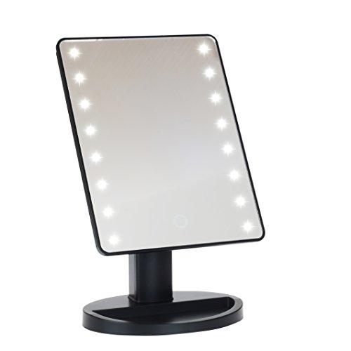 LED Lighted Vanity/makeup Desktop Mirror (Black) (Desk Mirror)