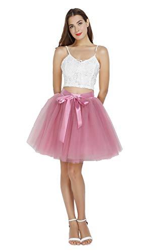 Women's High Waist Princess Tulle Skirt Adult Dance Petticoat A-line Short Wedding Party Tutu Mauve Pink -