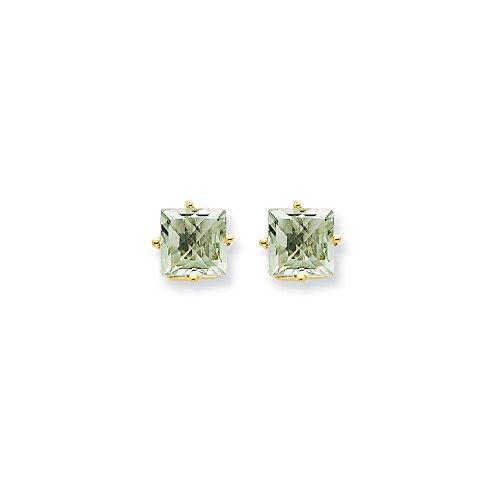 14k Yellow Gold 6mm Square Green Quartz Earrings. Gem Wt- (6 Mm Square Green)