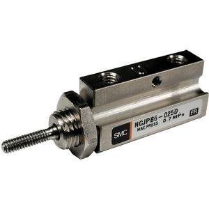 """SMC NCJPB10-025D  Pin Air Cylinder, Compact, Double Acting, Basic Style Mounting, Not Switch Ready, Rubber Cushion, 3/8"""" Bore OD, 1/4"""" Stroke, 0.197"""" Rod OD, 10-32 UNF"""