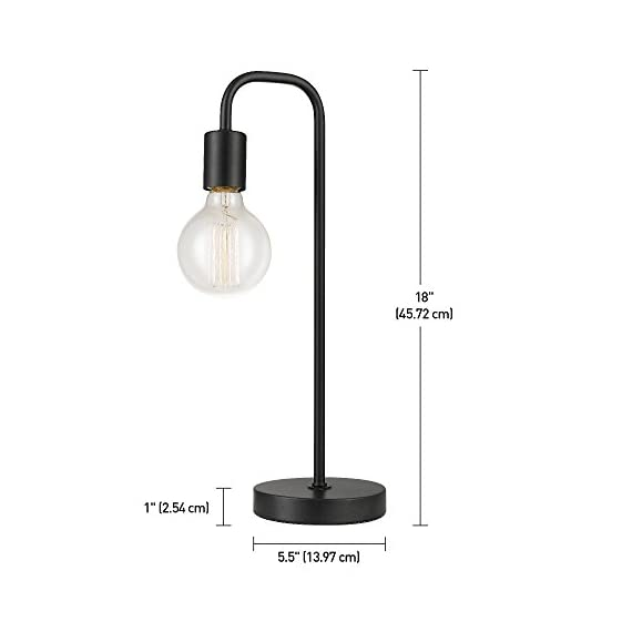 "Globe Electric 12920 Holden Table Lamp, 18"", Black Satin - NEW NORDIC: contemporary finishes mix with minimalistic design to provide a New Nordic category showcasing simplicity as the ultimate sophistication ACCENT LIGHT: a perfect accent light for any space, the contemporary minimalistic design of the Holden Table Lamp is an elegant update for modern and contemporary homes alike EXPOSED BULB: create a truly unique look by adding a Globe Electric designer vintage-inspired Edison bulb - lamps, bedroom-decor, bedroom - 31yC8 No6iL. SS570  -"