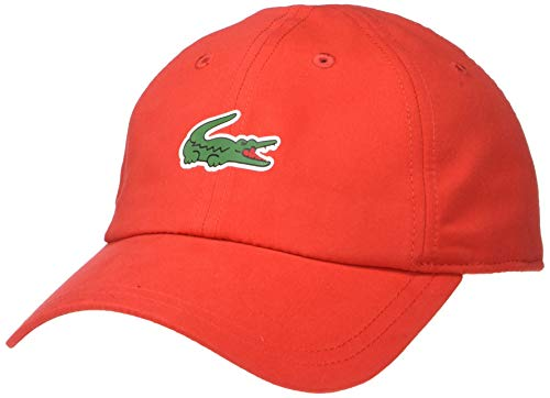 Lacoste Mens Sport Polyester Cap with Green Croc, red, ONE (Lacoste Hats For Men)