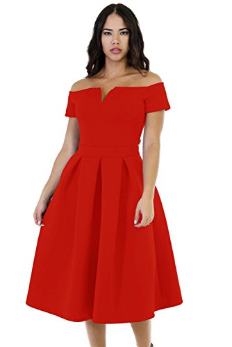 LALAGEN Women's Vintage 1950s Party Cocktail Wedding Swing Midi Dress Red XXL
