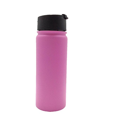 Double-Wall Insulated Water Bottle 18oz, Food Grade Stainless Steel, BPA Free, Sweat Proof, by H2C (Magenta)