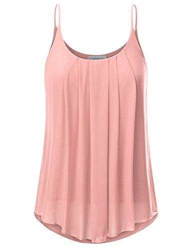 - JJ Perfection Women's Pleated Chiffon Layered Cami Tank Top Peach S