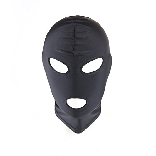 HOT TIME Black Breathable Face Cover Spandex Zentai Costume Hood Mask (open - Mask Costume