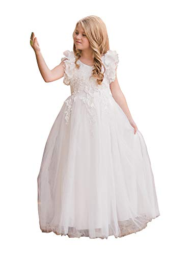 Big Girls White Petal Sleeve Satin Floor Length Junior Bridesmaid Dress 7 from Just Couture