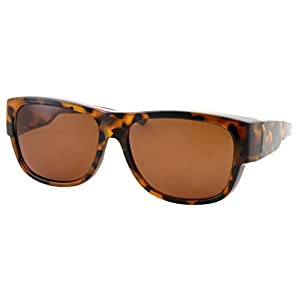 Women Polarized Fit Over Sunglasses - Less Bulky, Ladies Size (Tortoise Brown)