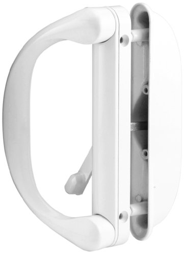 Prime-Line Products C 1275 Sliding Door Handle Set with Latch, White, - Handle Mortise Style
