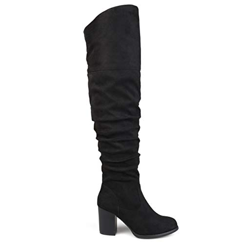 Brinley Co. Womens Regular Wide Calf and Extra Wide Calf Ruched Stacked Heel Faux Suede Over-The-Knee Boots Black, 10 Wide Calf US (Over The Knee Wide Calf Boots Size 10)