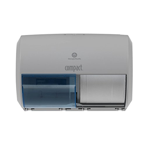 "Compact 2-Roll Side-by-Side Coreless High-Capacity Toilet Paper Dispenser by GP Pro, Gray, 56783A, 10.12"" W x 6.75"" D x 7.12"" H by Compact"