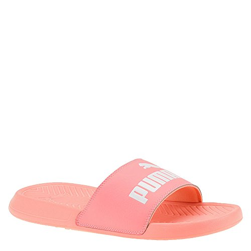 PUMA Women's Popcat WNS Slide Sandal, Soft Fluo Peach White, 6.5 M US