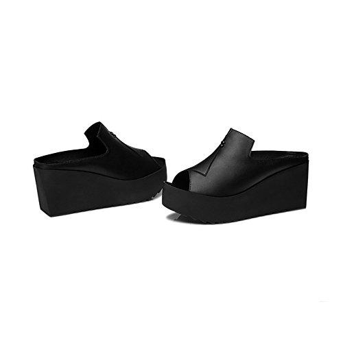 Shoes Libre EU36 Negro LHA Zapatillas Bottom Wear UK3 Joker 5 Al Aire Color Gruesa Slope out Negro con Summer Fish Muffin Nuevo Femenina 2018 Fashion Cool Tamaño CN35 6w16Hqg