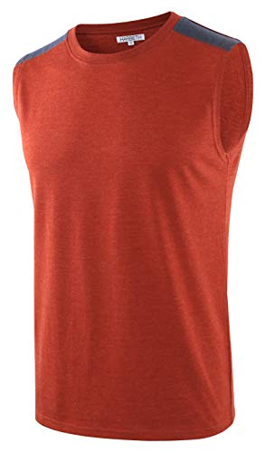 HARBETH Men's Classic Basic Sleeveless Active Tank Top Jersey Casual T Shirts H.Rusty/C.Blue M ()