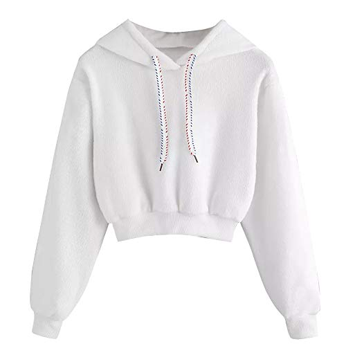 GOVOW White Blouse for Women Plus Size Autumn Winter Casual Faux Fur Drawstring Crop Hoodie Top(US:10/CN:XL,White )
