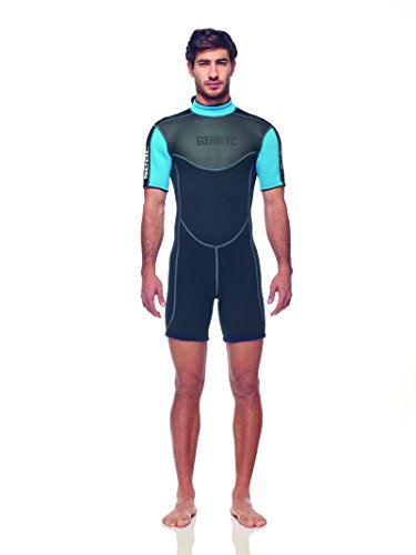 - SEAC Men's Shorty Sense Neoprene Wetsuit, Black/Blue, 3mm/4X-Large