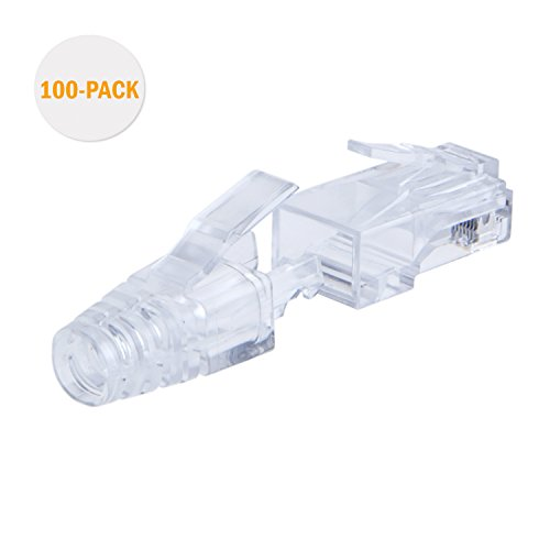 CableCreation 100-PACK Cat 6 RJ45 Plug with hood Connector, - Cat Transparent