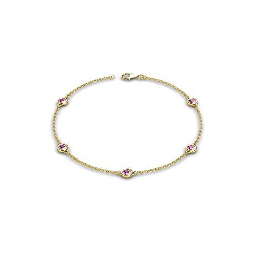 Petite Pink Sapphire Colors on Cable Bracelet 0.55 ct tw in 14K Yellow Gold 14k Yellow Gold Sapphire Bracelet