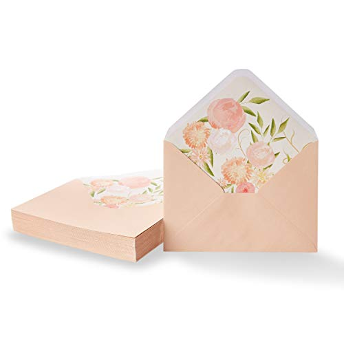 Paper Junkie 50-Pack A7 Blush Pink Special Occasion Invitation Envelopes for 5x7 Invites with Watercolor Floral Lining for Wedding, Graduation, Birthday, 120gsm, 5.25 x 7.25 Inches (Save The Date Announcements For Corporate Events)
