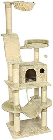 Anime Design Árbol rascador para gatos XXL beige – Samy – con superficie de descanso acolchada, tumbona/vaca, gran cueva para el salón, hamaca, superficie de sisal rascado/rascador, cuerda de juego, ratón de