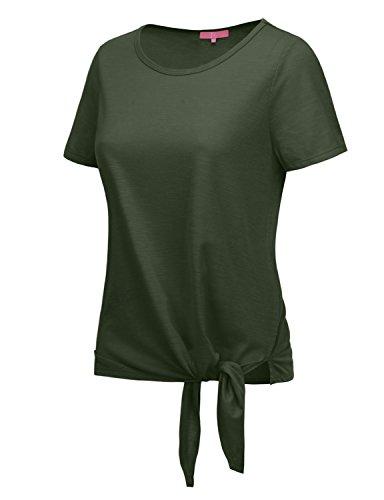RENGA X NO BOTHER Women's Plunge neck Short Sleeve Cool Dry Spandex Basic - Bra Plunge Ribbon