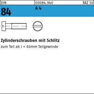 200 Edelstahl V4A Schlitz Zylinderschrauben DIN 84 A4 M3x20
