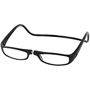 CliC Euro Single Vision Half Frame Designer Reading Glasses, Black, +1.25