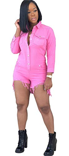 (Hotheart Women's Long Sleeve Lapel Button Pockets Bodycon Shorts Sexy Nightclub Party Denim Jumpsuit Rompers (M, Pink) )