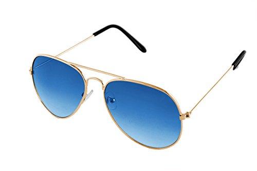 SHVAS UV Protection Unisex Aviator Gold Blue Sunglasses [DUBORNGOLDBLU]