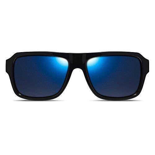 Dillon Optics Reed Sunglasses Polarized (Shiny Black, Blue - Dillon Sunglasses
