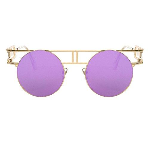 gótico clásico redondas UV400 Gafas la Oro de colorido de marco vendimia Púrpura redondo del sol reflexivo 1waW8qwHg