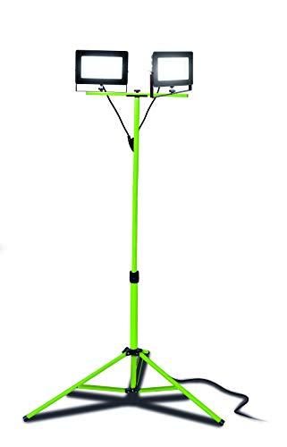Luceco Slimline LED Baustrahler 2x 75 Watt mit Stativ, Arbeitsleuchte 17.000 Lumen, Scheinwerfer IP65 Wasserdichte
