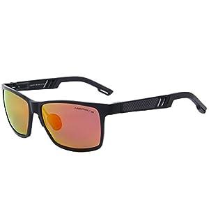 MERRY'S 2016 Hot Retro Aluminum Frame Driving Polarized Sunglasses For Men Women S8571 (Red, 57)