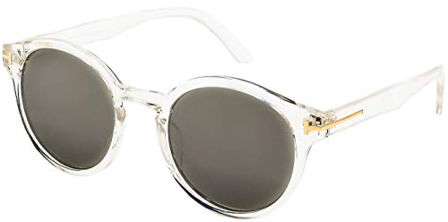 Crystal Transparent Sunglasses - Stylle Round Sunglasses Crystal and Gold Frame with Silver Mirror Lens