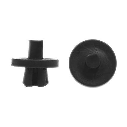 eDealMax 100 piezas Negro parachoques ajuste de la puerta Fender 6mm de plástico Sujetador Clip Para