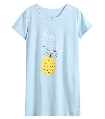 (BOOPH Girls' Short Sleeve Cotton Nightgown, Cute Fruit Sleepwear Sleep Shirt Princess Nightdress Blue 9-10Y)