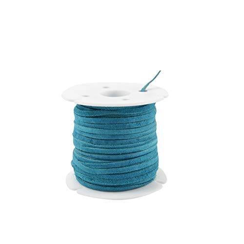 Turquoise Blue 3mm Leather Lace Spool Jewelry Making Thread 25 Yd Roll Cording Suede Deer Genuine Leather Lace
