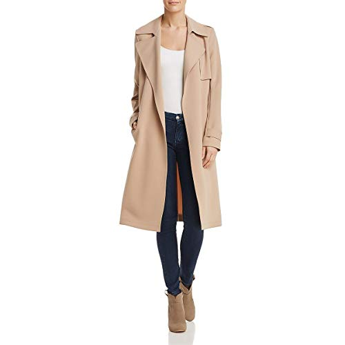 Theory Womens Crepe Long Sleeves Trench Coat Tan L