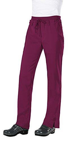 KOI Tech Women's MIA Drawstring Elastic Waist Scrub Pant Medium Petite Wine