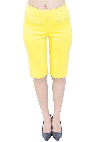 PattyCandy Womens Yellow Comfort Fit Pull-On Bermuda Shorts, Yellow - 3XL ()