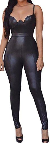 Lovaru Women's Cami Faux Leather High Waist Playsuit Backless Bodysuit Jumpsuit