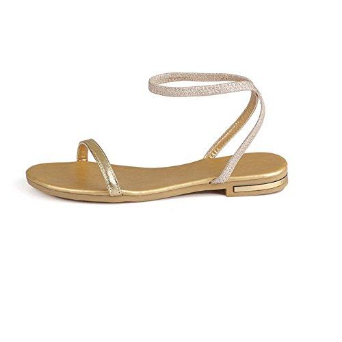 AllhqFashion Mujeres Puntera Abierta Mini Tacón Sin cordones Sólido Sandalias de vestir Gold