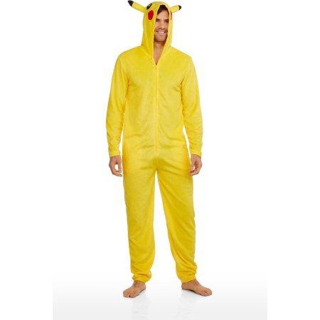 Pokemon-Pikachu-Licensed-Mens-Onesie-Hooded-Union-Suit-YellowSize-XL