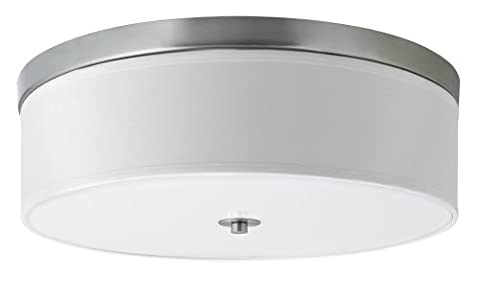 Linea di Liara Occhio 20.5-Inch Three-Light Ceiling Fixture, Brushed Nickel with a White Fabric Shade, Flushmount LL-C253-BN